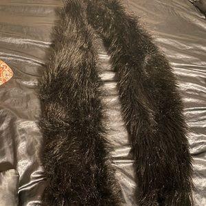 Faux Black Fur Stole Boa Shawl